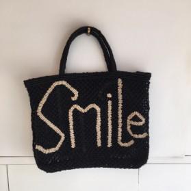 Cabas Jute Smile Noir et Naturel