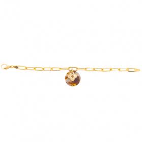 Bracelet acétate marron Trèfle