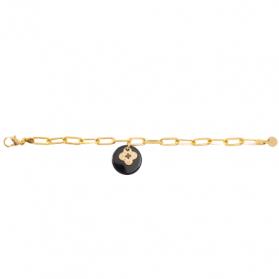 Bracelet acétate noir Trèfle
