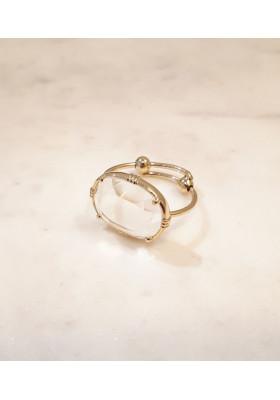 Bague ovale - Cristal de roche
