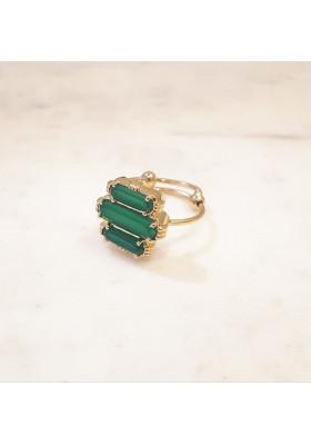 Bague 3 pierres - Onyx vert - petit modèle