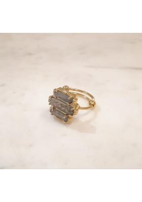 Bague 3 pierres - Labradorite - petit modèle