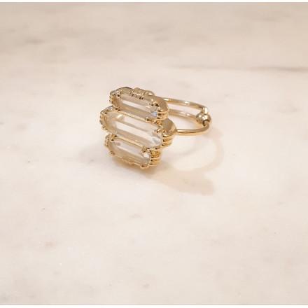 Bague 3 pierres - Cristal de roche - petit modèle