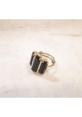Bague 3 pierres - Onyx noir - grand modèle