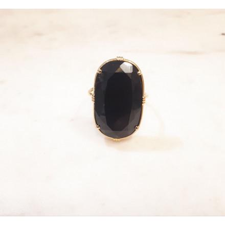 Bague ovale - Onyx noir - grand modèle