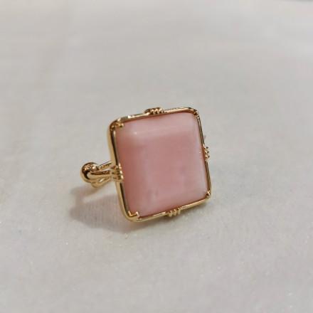 Bague carrée - Opale rose