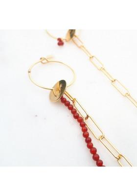 Boucles d'oreilles créoles dépareillées chaine rectangle  Cornaline par Rosekafe