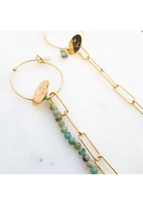 Boucles d'oreilles créoles dépareillées chaine rectangle Turquoise Africaine par rosekafe
