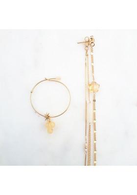 Boucles d'oreilles dépareillées multi chaines Riverstone et Citrine Gabrielle par rosekafe