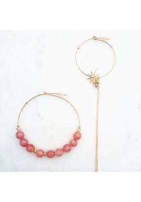 Boucles d'oreilles créoles dépareillées Lola Agate rose par rosekafe