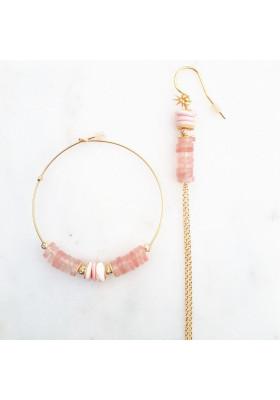 Boucles d'oreilles dépareillées Heishi rose par rosekafe
