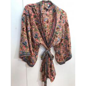 Kimono Court Saumon Paon