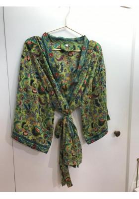 Sélection Boo - Kimono Court- Vert Paon