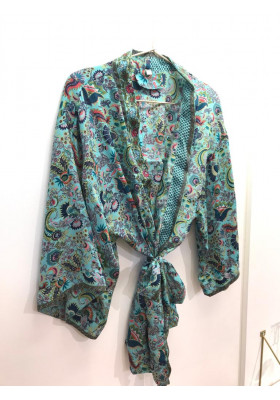Kimono Court Bleu Paon