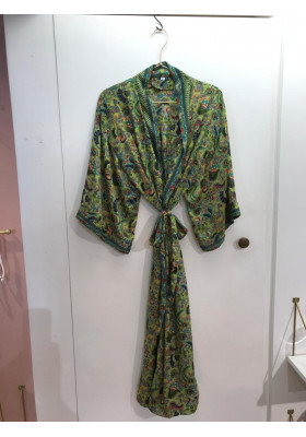 Sélection Boo - Kimono Long- Vert Paon