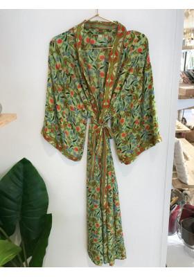 Sélection Boo - Kimono Long- Vert Fleurs