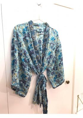 Kimono Court Bleu Fleurs