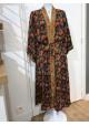 Sélection Boo - Kimono Long- Noir Fleurs
