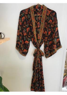 Kimono Long Noir Fleurs