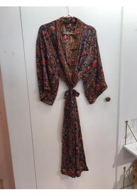 Kimono Long Bleu Marine Paon