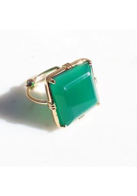 Bague carrée - Onyx vert