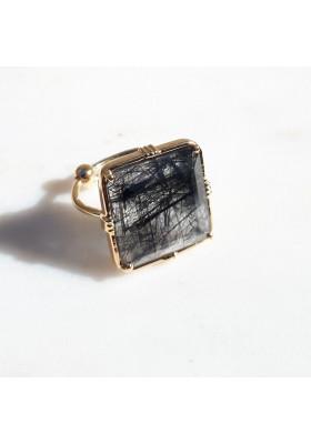 Bague carrée - Quartz rutile noir