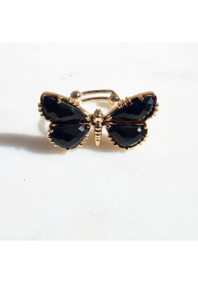 Bague Papillon Spinelle noire au fil de lo