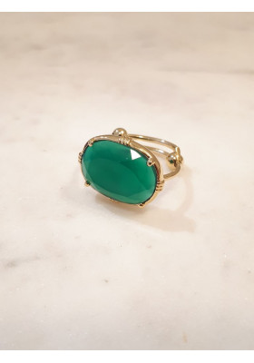 Bague ovale - Onyx vert - petit modèle