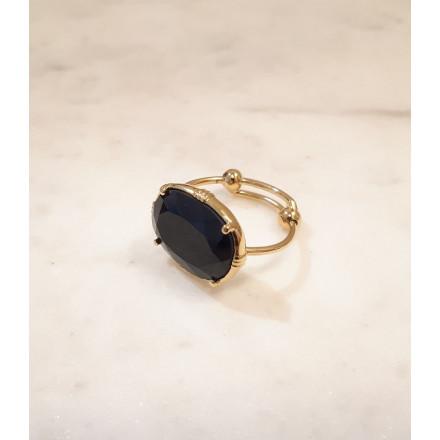 Bague ovale - Onyx noir - petit modèle