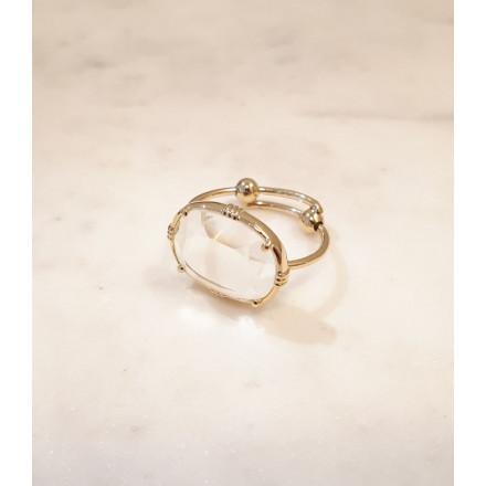 Bague ovale - Cristal de roche - petit modèle