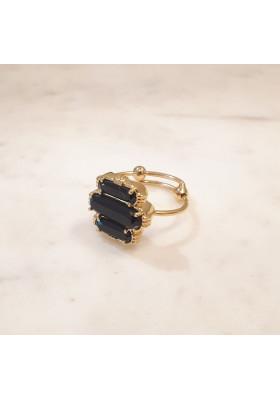 Bague 3 pierres - Onyx noir - petit modèle
