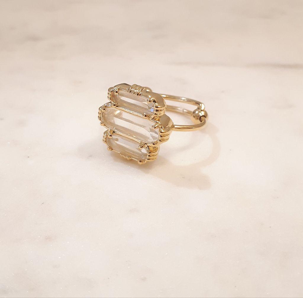 Boo Bijoux - Bague 3 pierres - cristal de roche- Au Fil de Lo