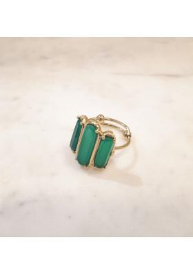 Bague 3 pierres - Onyx vert - grand modèle