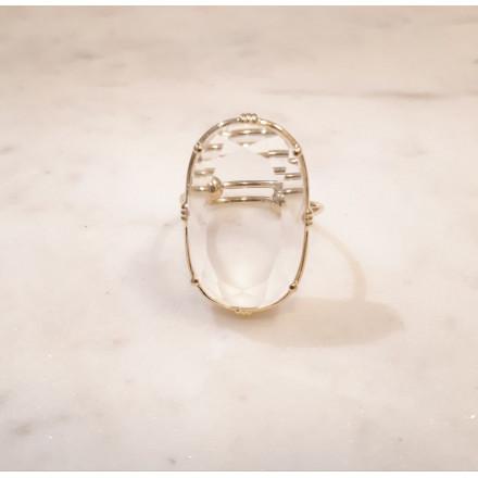 Bague ovale - Cristal de roche - grand modèle