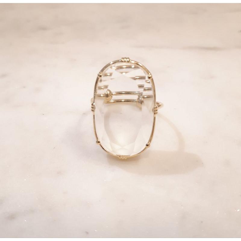 Boo Bijoux - Au Fil de Lo - Bague ovale - Cristal de roche
