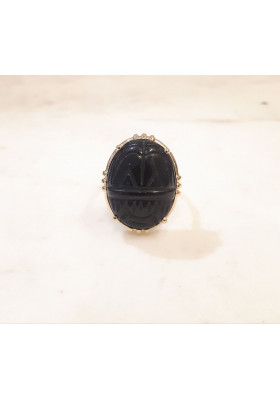 Bague Scarabée - Onyx noir