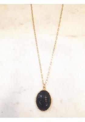 Collier Scarabée - Onyx noir