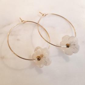 Créoles Fleur - Nacre blanche
