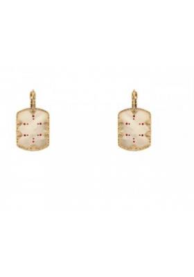 Boucles d'oreilles Timor - Nacre blanche - Rouge