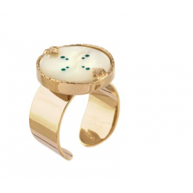 Bague Timor - Nacre blanche - Turquoise