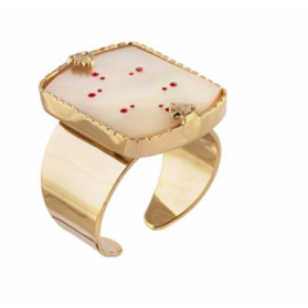 Bague Timor - Nacre blanche - Rouge