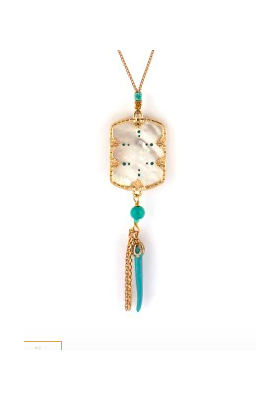 Collier Timor - Nacre blanche - Turquoise