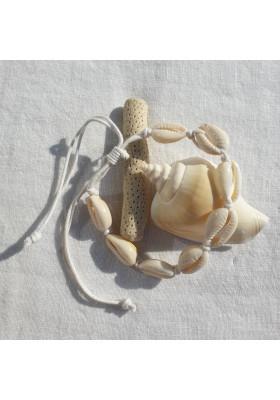 Bracelet Cauri cordon blanc