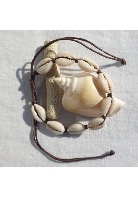 Bracelet Cauri cordon Marron