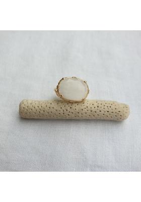 Bague ovale horizontal - Labradorite blanche