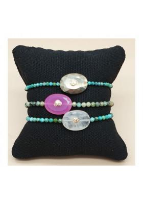 Bracelet sur turquoise Arizona - Onyx rose