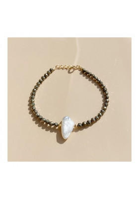 Bracelet pyrite et galet d'eau douce Colorado
