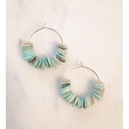 Créoles Koh Lanta -  Heishi Turquoise
