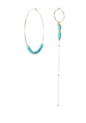 Boucles dépareillées Rondelles Turquoise