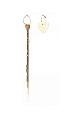 Boucles dépareillées Coeur et Pyrite dorée